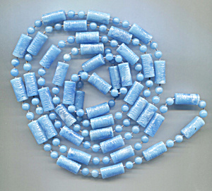Blue Plastic Tubes & Beads Rope Necklace