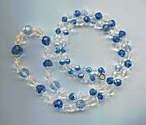 Aqua, Lt. Blue & Clear Graduated Crystal Beads Necklace