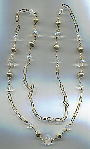 Crystal & Gold Tone Metal Ball Rope Necklace, Korea