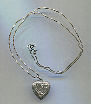 Sterling Heart Locket On Chain, Italy