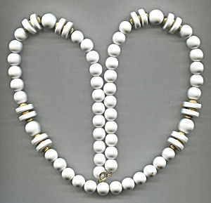 Long White Rope Plastic Necklace W/white & Gold Discs