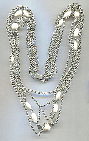 Japan Multi-strand Silver & White Glass Beads Necklace