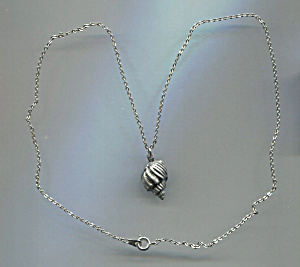 Silver Tone Seashell Pendant Necklace, Signed Sn
