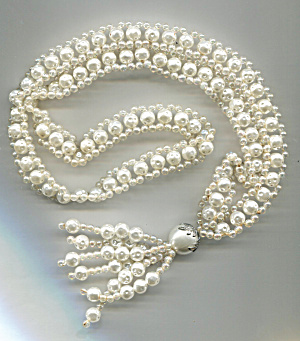 White Plastic Beaded Rope Necklace W/ Tassel