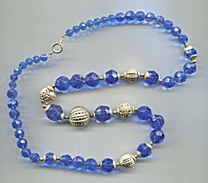 Blue Faceted Plastic Beads Gold Tone Balls Necklace