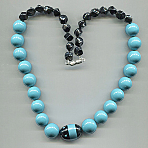 2 Tone Blue & Black Plastic Beads Necklace