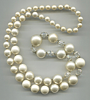 White Plastic Beads, Clear Capped Crystals, Necklace