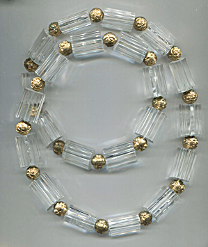 Grooved Solid Plastic Tubes, Gold Tone Spacers Necklace