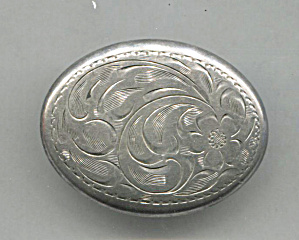 Sterling Oval Scroll & Flower Design Pin
