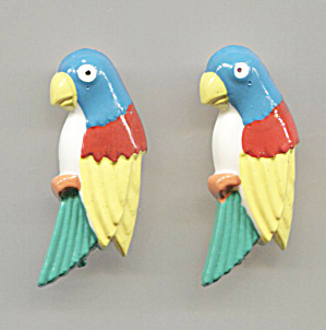 Pair Plastic Parrot Scatter Pins