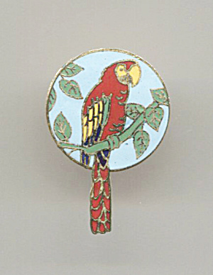 Parrot On Blue Enamel Disc Pin