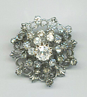 Coro Domed Clear Rhinestone On Silver Pin