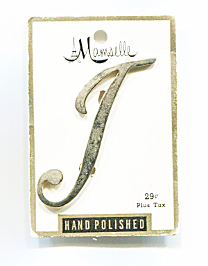 Mamselle Initial Pin, Letter T, Original Card