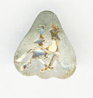 GSC STERLING HORSE & RIDER IN ABALONE PIN (Image1)