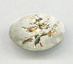 GSC STERLING BIRD ON A BRANCH IN ABALONE PIN (Image1)