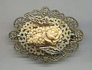 Japan Molded Celluloid Flower Pin In Gold Frame