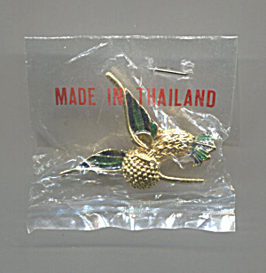 Thailand Gold Tone & Green Enamel Pin, Original Bag