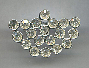 Clear Rhinestones In Silver Frame Pin