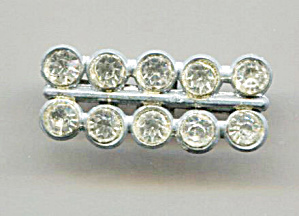 Dbl. Row Clear Rhinestones In Pot Metal Setting Pin