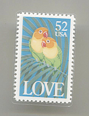 Love Birds, $.52 Cent Usa Stamp, Lapel Pin Or Tie Tac