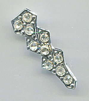 Clear Rhinestones Bar Pin, Silver Tone Setting