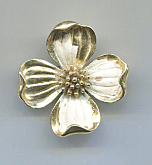 Trifari Gold Tone Flower Pin, White Enamel Petals