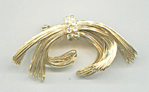 Gold Wires Bow Shape Pin, Clear Rhinestone Accent