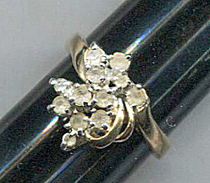 Cascade Of Clear Rhinestones Ring In Gold Setting