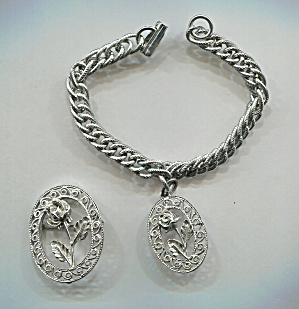 Silver Pot Metal Pin & Bracelet W/rose In Oval Charm
