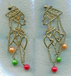 Click here to enlarge image and see more about item 025: QUEEN NEFERTITI PIERCED EARRINGS