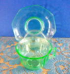 Click here to enlarge image and see more about item 3995: TRANSPARENT GREEN GLASS CUP & SAUCER