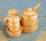 Click to view larger image of GOLD LUSTREWARE SALT, PEPPER, MUSTARD IN TRAY (Image1)