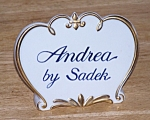 Click here to enlarge image and see more about item 3298: ANDREA BY SADEK NAME PLATE