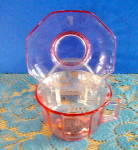 Click here to enlarge image and see more about item 5817: TRANSPARENT PINK GLASS CUP & SAUCER