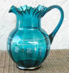 Click here to enlarge image and see more about item 6201: TEAL BLUE GLASS PITCHER
