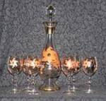DECANTER & 6 GLASSES, HAND PAINTED W/ORANGE FLOWERS
