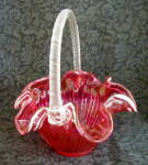 Click to view larger image of RED GLASS BASKET, RIBBON CANDY TRIM (Image2)
