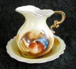 Click here to enlarge image and see more about item 6402h: HAND PAINTED SMALL PITCHER & BOWL SET