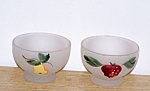Click here to enlarge image and see more about item 6431b1: 2 FROSTED SHERBETS, FRUIT DESIGNS
