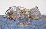 Click here to enlarge image and see more about item 6487f1: GOLD TRIMMED LEAVES BOWL