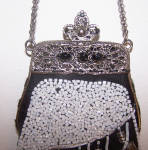 Click to view larger image of BLACK W/ WHITE BEADS & JEWELED CLASP EVENING BAG (Image2)