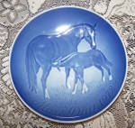 Click to view larger image of B & G COPENHAGEN 1972 MOTHER'S DAY PLATE W/HORSES (Image1)