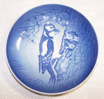 Click here to enlarge image and see more about item 6618d: B & G COPENHAGEN 1975  MOTHER'S DAY PLATE W/ BIRDS