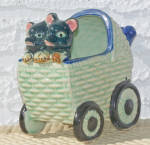 2 ANIMALS IN BABY CARRIAGE PLANTER
