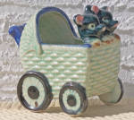 Click to view larger image of 2 ANIMALS IN BABY CARRIAGE PLANTER (Image2)