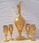 Click to view larger image of CAMEO DECORATED GOLD DECANTER & 4 CORDIALS (Image1)