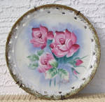 Click here to enlarge image and see more about item 6636f: ARTIST SIGNED FLOWERS HANGING PLATE