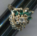 Click here to enlarge image and see more about item 666b: GREEN STONES & RHINESTONES COCKTAIL RING