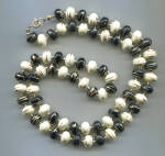 BLACK & WHITE GOLD ACCENTS, PLASTIC BEADS ROPE NECKLACE