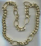 LONG HEAVY GOLD TONE METAL CHAIN NECKLACE